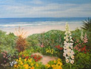 Garden Scene Originals - Garden Along The Strand by Carol Reynolds
