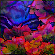 Digital Collage Posters - Garden Angel Poster by Barbara Berney