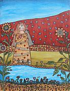 Folk Art Paintings - Garden Angel by Rain Ririn