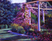 Flower Gardens Painting Posters - Garden Arbor Poster by David Lloyd Glover