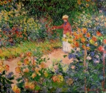Flower Picker Paintings - Garden at Giverny by Claude Monet