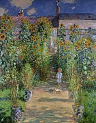 Steps Painting Posters - Garden at Vetheuil Poster by Claude Monet