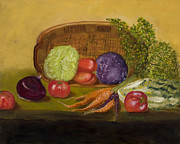 Vegetables Originals - Garden Basket of Cole Slaw by Rosemary Buettgenbach