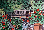 Sketch Book Prints - Garden Bench Sketchbook Project Down My Street Print by Irina Sztukowski