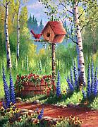 Cardinal Paintings - Garden Birdhouse by David G Paul