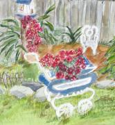 Baby Carriage Paintings - Garden Carriage by Barbara Pearston