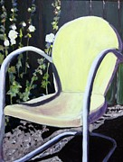 Holly Hocks Paintings - Garden Chair by Debbie Phillips Conejo
