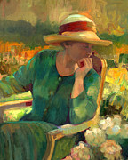 Contemplative Paintings - Garden Contemplation by Sally  Rosenbaum