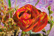 Matte Print Prints - Garden Delight Red Rose Print by M K  Miller