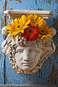 Plaster Photo Posters - Garden Face Poster by Garry Gay