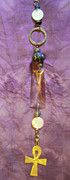 Dance Jewelry Originals - Garden Fob Blue Bead Shell Ankh Sun Catcher by Cheryl Raber