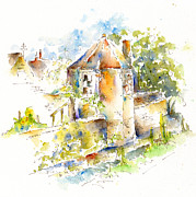 Watercolor And Ink Paintings - Garden Folly - Bow Wow Lane by Pat Katz