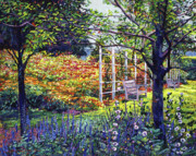 Decorative Benches Painting Posters - Garden for Dreaming Poster by David Lloyd Glover