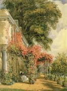 Orange Metal Prints - Garden Front of Mr Robert Vernons House at Twickenham Metal Print by John James Chalon