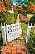 Garden Gate Prints - Garden Gate and Brick Path Print by Jill Battaglia