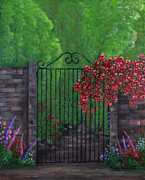 Brick Paintings - Garden Gateway by Kristi Roberts