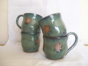 Coffee Ceramics - Garden green mugs by Monika Hood