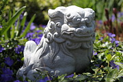 Gargoyle Lion Prints - Garden Guardian Print by Cynthia Hojnowski