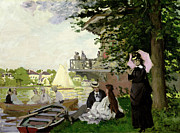 Picnic Paintings - Garden House on the Zaan at Zaandam by Claude Monet