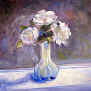 Flower Still Life Painting Posters - Garden Icebergs Poster by Athena  Mantle