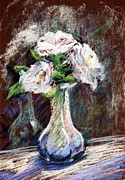 Floral Still Life Originals - Garden Icebergs Pastel by Athena  Mantle