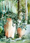 Watercolor Drawings Originals - Garden in Capri by Mindy Newman