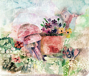 Vegetables Mixed Media - Garden In The Rain by Arline Wagner
