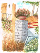 Watercolor And Ink Paintings - Garden-in-venice-california by Carlos G Groppa