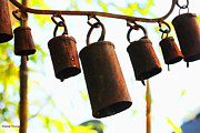 Wind Chimes Prints - Garden Noah Bells 2 Print by Cheryl Young