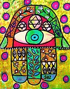 Hamas Paintings - Garden Oasis Hamsa by Sandra Silberzweig