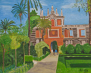 Seville Painting Prints - Garden of the Alcazar Seville 2012 Print by Bill White