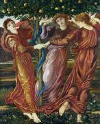 Pre-raphaelites Painting Framed Prints - Garden of the Hesperides Framed Print by Sir Edward Burne Jones