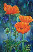 Orange Poppy Paintings - Garden Party by Billie Colson