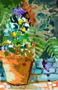 Blue Begonias Prints - Garden Party Print by Mindy Newman