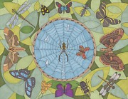 Spider Drawings Posters - Garden Party Poster by Pamela Schiermeyer