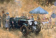 Old Car Posters - Garden party with the Bentley Poster by Peter Miller