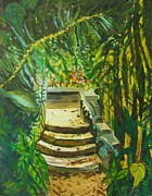 Steps Painting Posters - Garden Passage Poster by Judy Via-Wolff