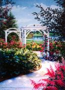 Garden Paintings  Acrylic Prints - Garden Path by Hanne Lore Koehler