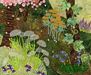 Textile Art Mixed Media Originals - Garden Path by Julia Berkley