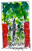 Garden Scene Drawings Prints - Garden Philadelphia Print by Marilyn MacGregor