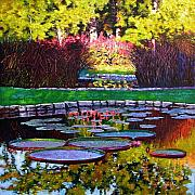 Water Lilies Paintings - Garden Ponds - Tower Grove Park by John Lautermilch