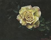 Yellow Leaves Painting Posters - Garden Rose Poster by Jeff Brimley
