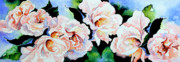 Watercolor Art Prints Posters - Garden Roses Poster by Hanne Lore Koehler