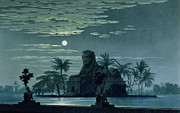 Full Moon Prints - Garden scene with the Sphinx in moonlight Print by KF Schinkel