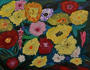 Primitive Raw Art Paintings - Garden Scope by Mary Carol Williams