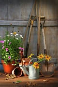 Gardening Tools Posters - Garden shed with tools and pots  Poster by Sandra Cunningham