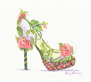 Pumps Painting Prints - Garden Shoe Print by Kathy Nesseth