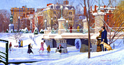 New England Snow Scene Prints - Garden Skaters Print by Candace Lovely