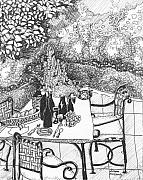 Garden Scene Drawings Prints - Garden Table Print by Jo Anna McGinnis