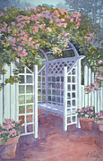 Lattice Painting Metal Prints - Garden Trellis Metal Print by Audrey Peaty